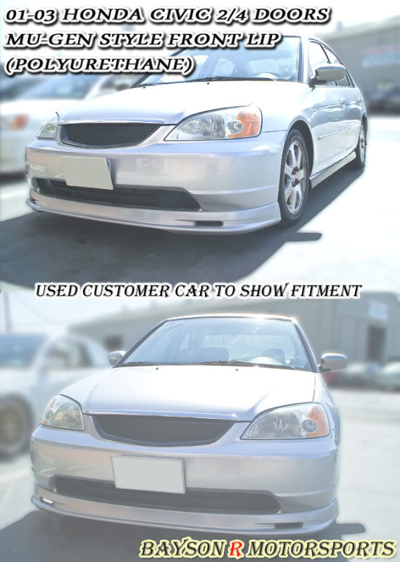MU Style Front Lip For 2001-2003 Honda Civic - Bayson R Motorsports