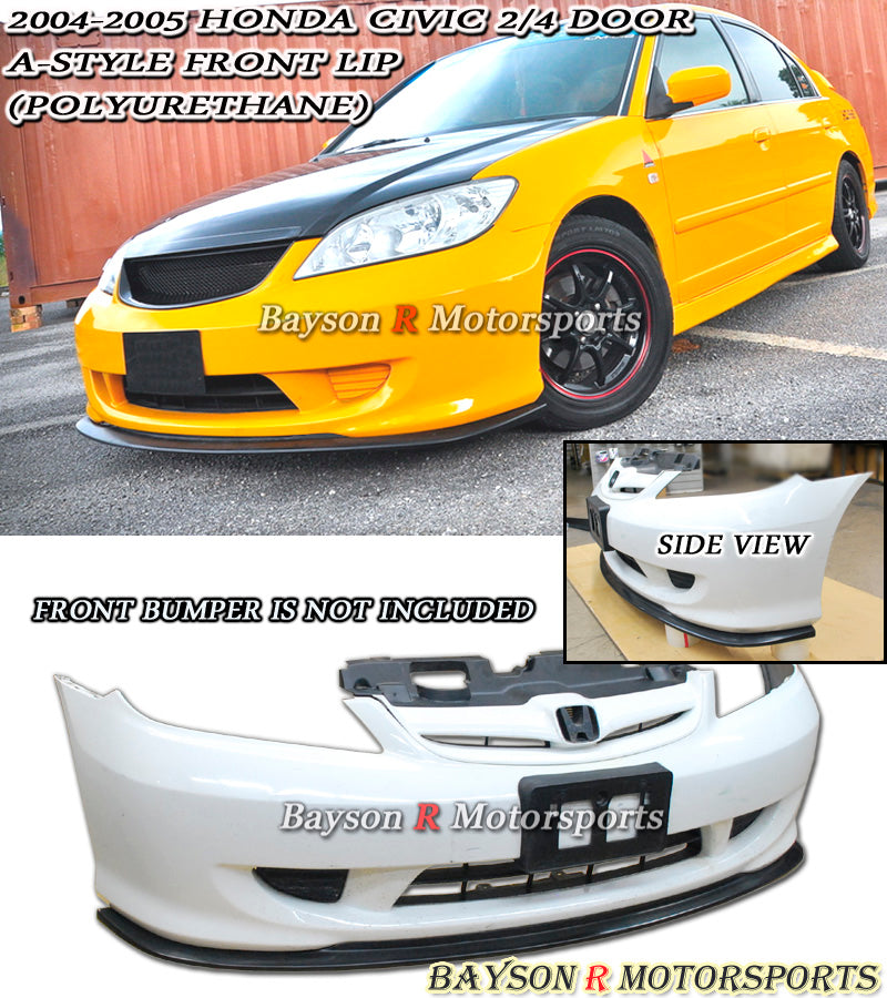04-05 Honda Civic 2/4dr A Style Front Lip (Polyurethane)