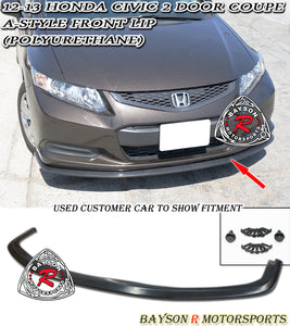 12-13 Honda Civic 2dr Coupe A Style Front Lip (Polyurethane)