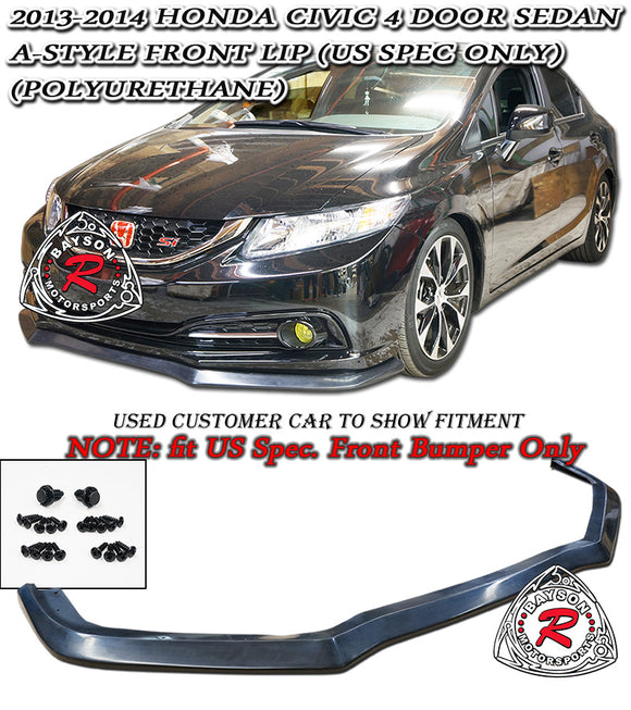 A Style Front Lip For 2013-2015 Honda Civic 4Dr - Bayson R Motorsports