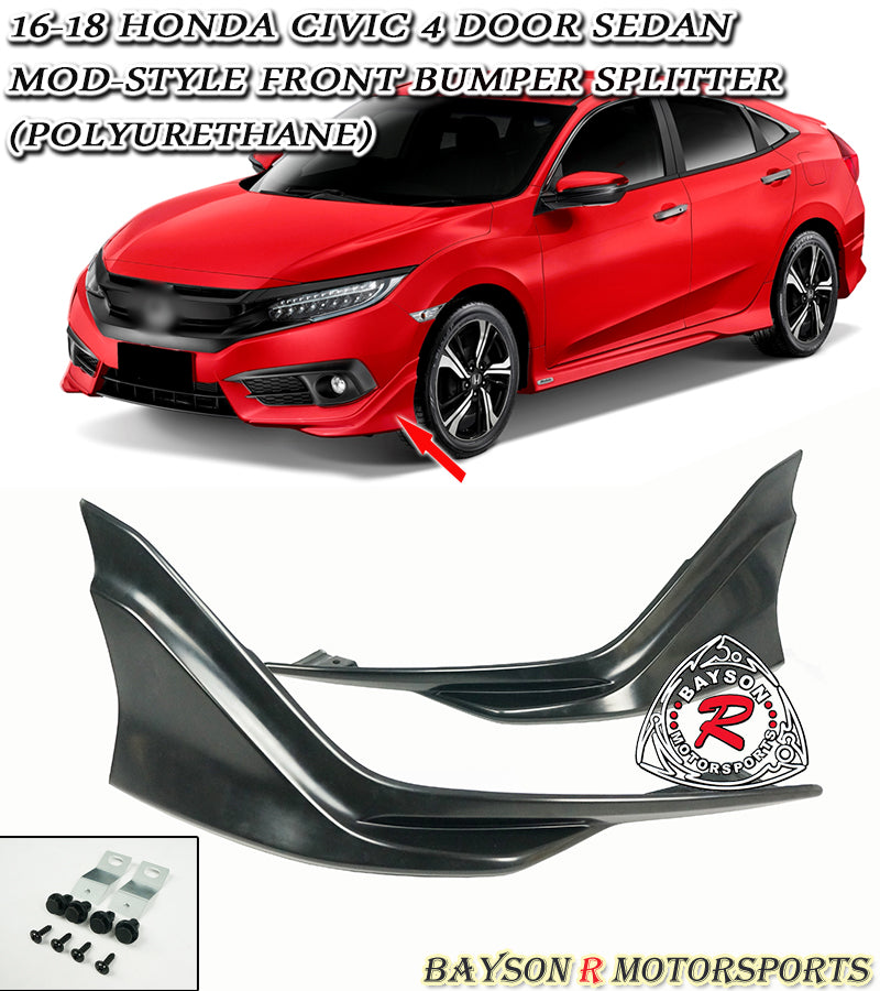 16-18 Honda Civic 4-Door Sedan Modulo-Style Front Splitter Lip (Polyurethane)