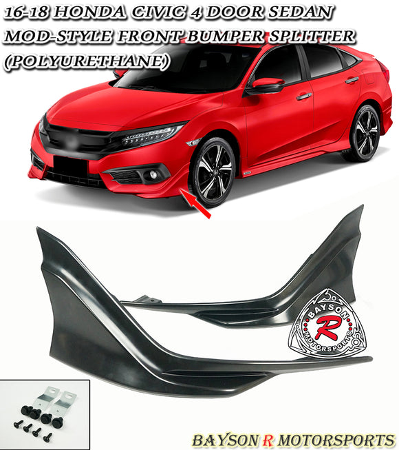 Mod Style Front Splitters For 2016-2018 Honda Civic 2Dr / 4Dr - Bayson R Motorsports