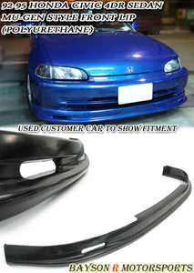 MU Style Front Lip For 1992-1995 Honda Civic 4Dr - Bayson R Motorsports