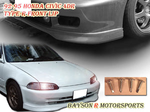 TR Style Front Lip For 1992-1995 Honda Civic 4Dr - Bayson R Motorsports
