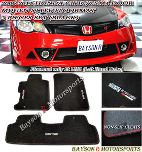06-11 Honda CIvic 4 Door Mu-gen Style Floor Mat - BLACK
