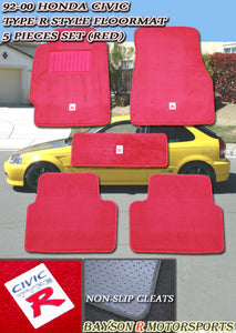 92-00 Honda Civic Type-R Style Racing Floor Mats Carpets Set (Red)