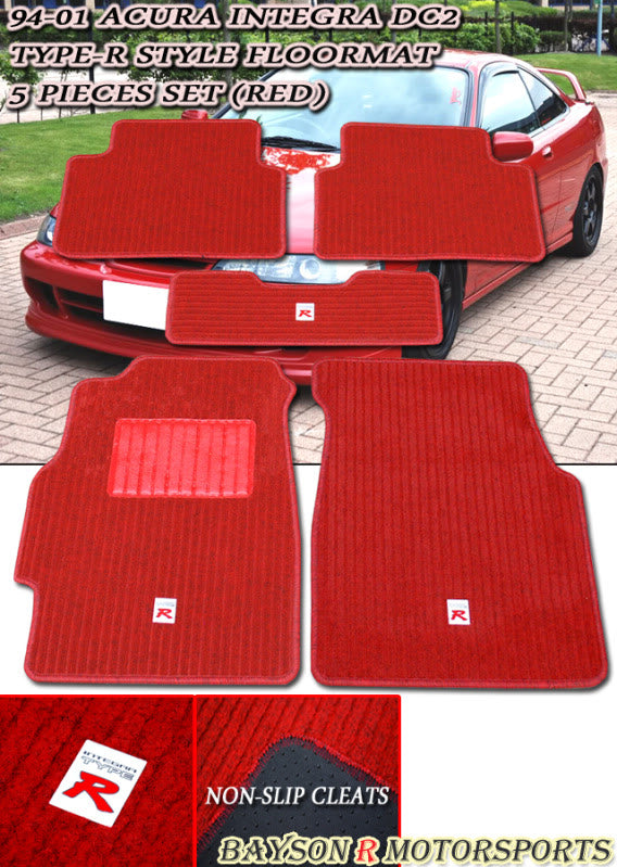 94-01 Acura Integra Type-R Style Racing Floor Mats Carpets Set (Red) - Bayson R Motorsports