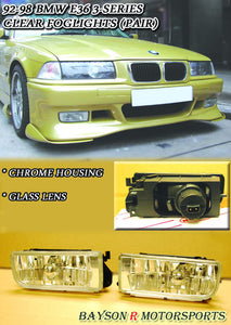 Clear Foglights For 1992-1999 BMW 3-Series E36 - Bayson R Motorsports