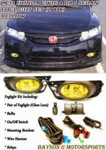 Foglights Kit For 2009-2011 Honda Civic 4Dr - Bayson R Motorsports