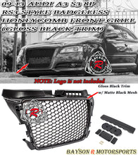 Load image into Gallery viewer, 09-13 Audi A3 S3 8P RS3-Style Badgeless Honeycomb Front Grille (Gloss Black)