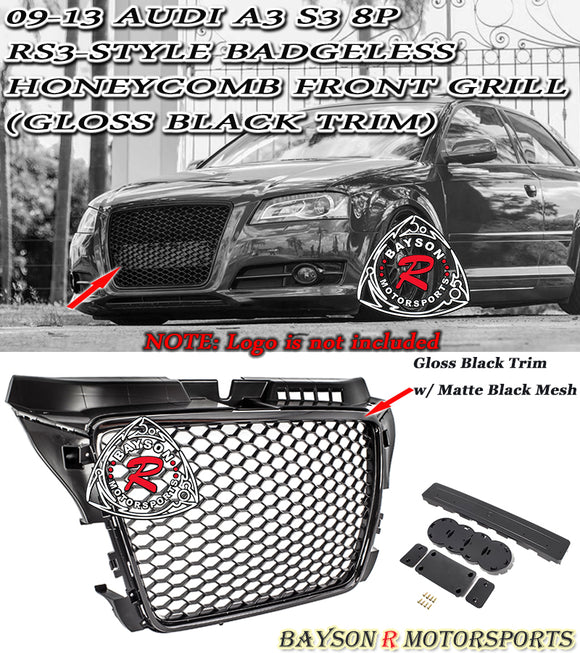 09-13 Audi A3 S3 8P RS3-Style Badgeless Honeycomb Front Grille (Gloss Black) - Bayson R Motorsports