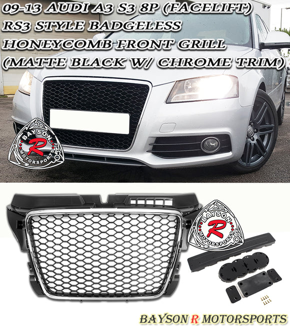 09-13 Audi A3 S3 (8P) RS3-Style Badgeless Honeycomb Front Grille (Matte Black w/ Chrome Trim) - Bayson R Motorsports
