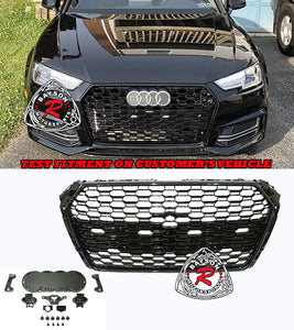 17-19 Audi A4 S4 B9 RS4-Style Badgeless Honeycomb Front Grille (Gloss Black)