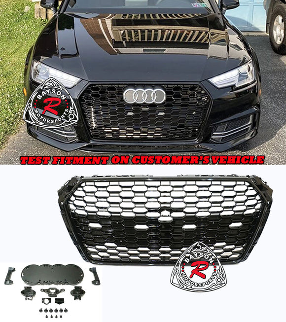17-19 Audi A4 S4 B9 RS4-Style Badgeless Honeycomb Front Grille (Gloss Black) - Bayson R Motorsports