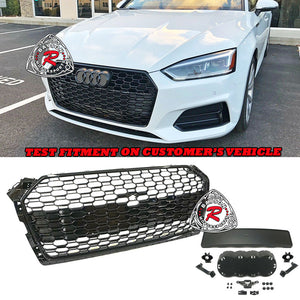 RS5 Style Front Grille (Gloss Black) For 2018-2019 Audi A5 S5 (B9) - Bayson R Motorsports