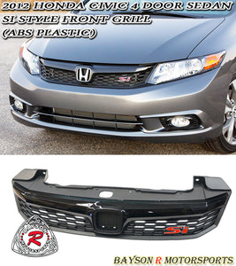 2012 Honda Civic 4dr Sedan Si Style Front Grille (ABS) - Bayson R Motorsports