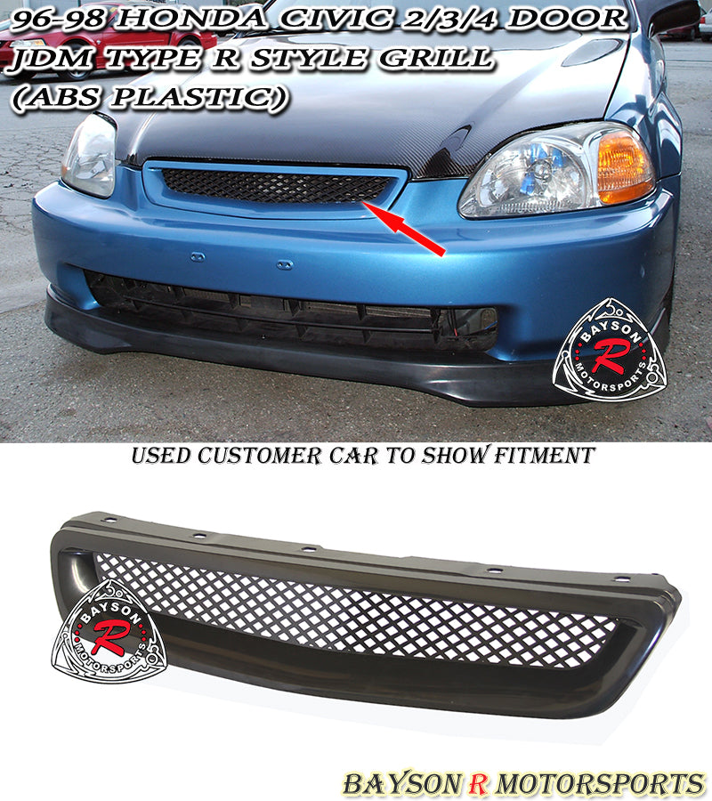 96-98 Honda Civic Type-R Style Front Grill (Full ABS Plastic)