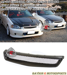 99-00 Honda Civic Type-R Style Front Grill with Removable Metal Mesh (ABS Plastic)