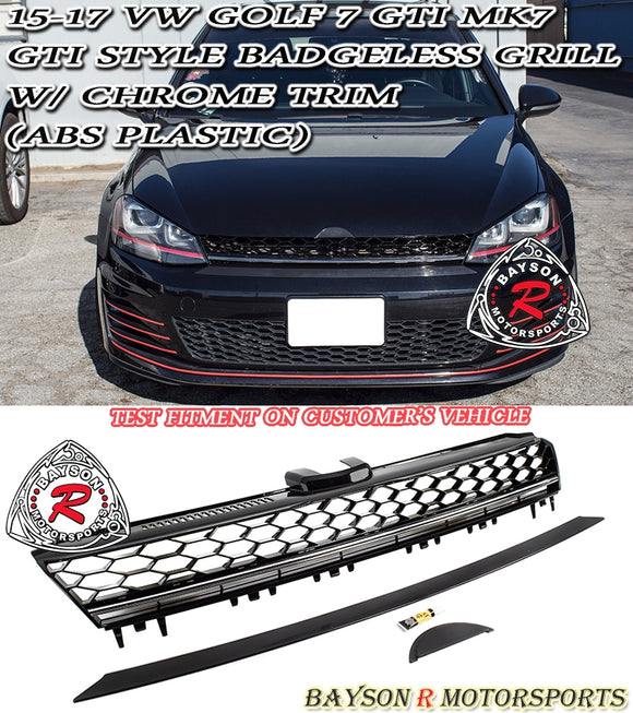 15-17 VW Golf 7 MK7 GTI Style Badgeless Grill w/ Chrome Trim (ABS Plastic)