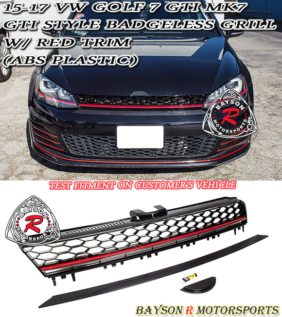 15-17 VW Golf 7 MK7 GTI Style Badgeless Grill w/ Red Trim (ABS Plastic) - Bayson R Motorsports