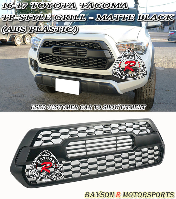 16-19 Toyota Tacoma TP-Style Front Grille Insert ABS Plastic (Matte Black) - Bayson R Motorsports