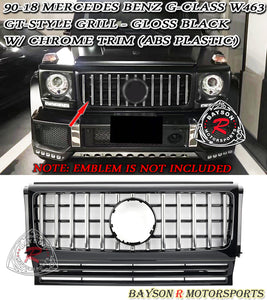 90-18 Mercedes Benz G-Class W463 GT-Style Front Grille w/ Chrome Trim (ABS Plastic)