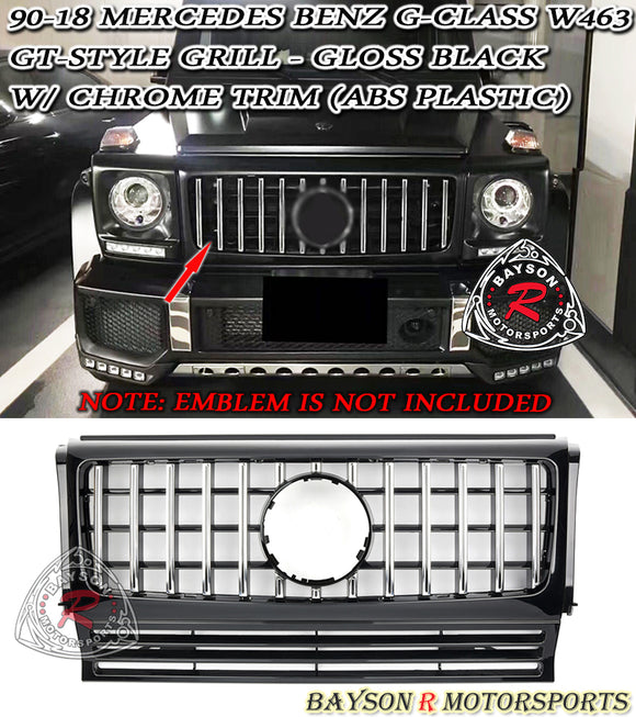 90-18 Mercedes-Benz G-Class W463 GT-Style Front Grille w/ Chrome Trim (ABS Plastic) - Bayson R Motorsports