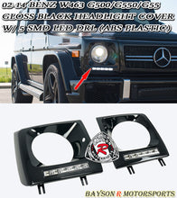Load image into Gallery viewer, 02-18 Mercedes-Benz W463 G500/G550/G55 Gloss Black Headlight Cover w/ 5 SMD LED DRL (ABS Plastic)