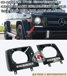 G63 Style Headlight Covers (Black) For 2002-2018 Mercedes-Benz G-Class (W463) - Bayson R Motorsports