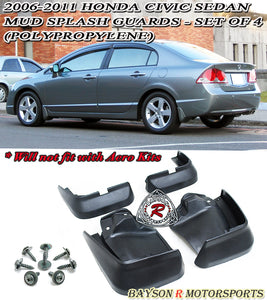 06-11 Honda Civic 4dr Mud Splash Guards - Set of 4 (Polypropylene)