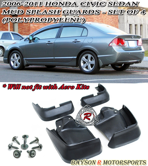 OE Style Mud Guards For 2006-2011 Honda Civic 4Dr - Bayson R Motorsports