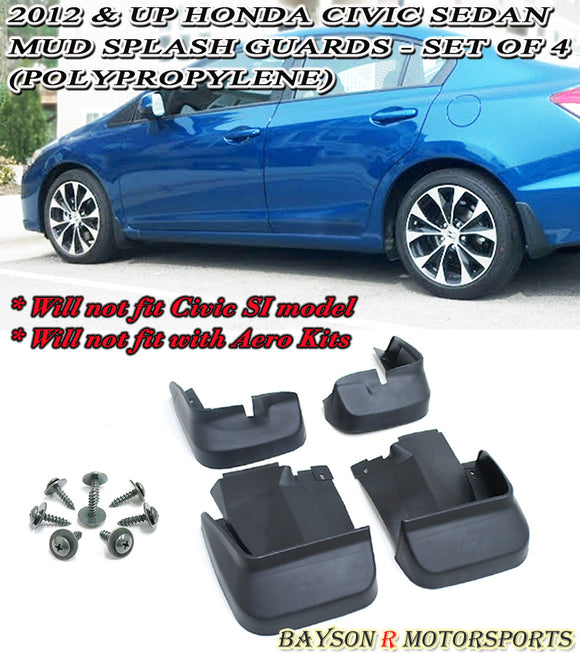 12-15 Honda Civic 4dr Mud Splash Guards - Set of 4 (Polypropylene) - Bayson R Motorsports