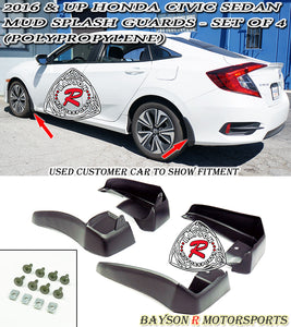 16-18 Honda Civic 4dr Mud Splash Guards - Set of 4 (Polypropylene) - Bayson R Motorsports