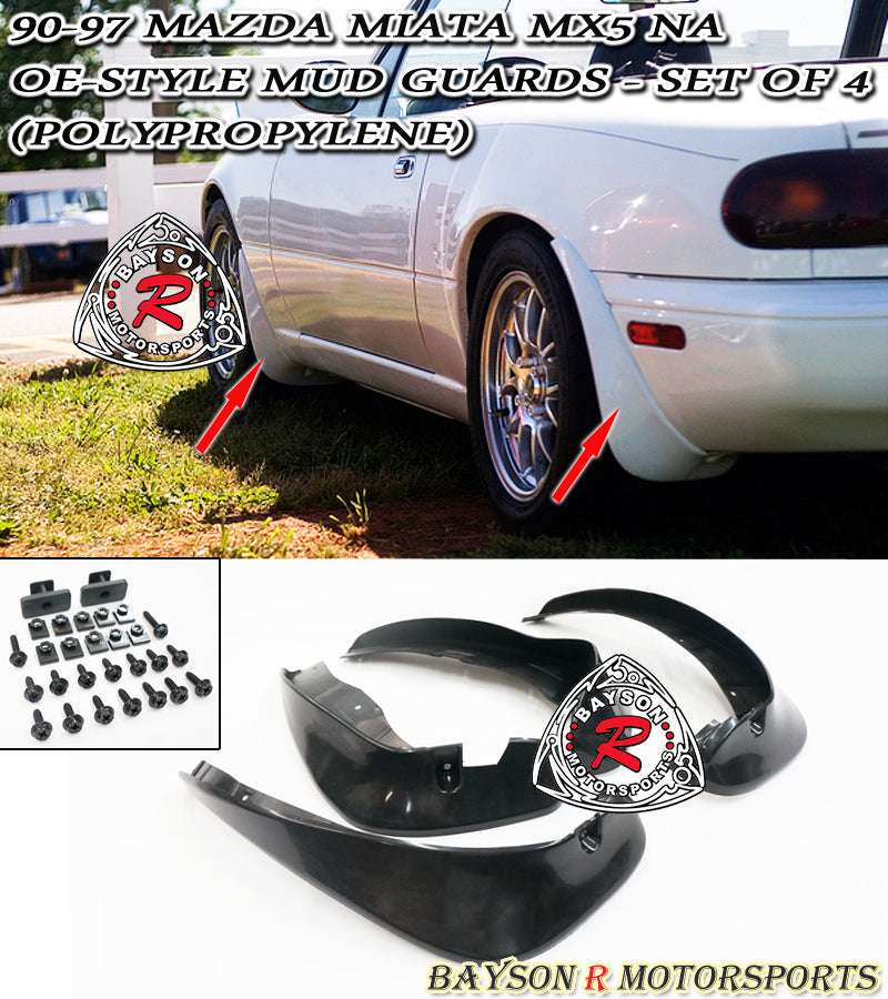 90-97 Mazda Miata MX5 NA OE Style Mud Splash Guards - Set of 4 (Polypropylene)