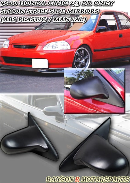 Spn Style Manual Side Mirrors For 1996-2000 Honda Civic 2Dr / 3Dr - Bayson R Motorsports