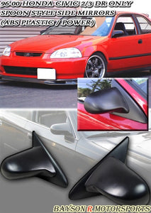96-00 Honda Civic 2/3Dr Spoon Style Power Side Mirrors (ABS Plastic) - Bayson R Motorsports