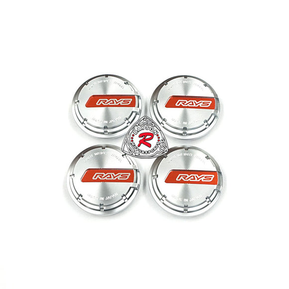 Rays Gram Lights GL Wheel Center Caps Silver with Red (Set of 4) - Bayson R Motorsports