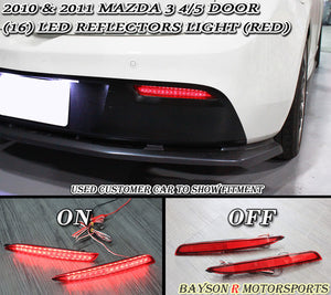 Rear Bumper Reflector Red LED Lights For 2010-2013 Mazda 3 - Bayson R Motorsports