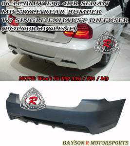 MP Style Rear Bumper For 2006-2011 BMW 3 Series E90 4 Dr [Single Exhaust, Single Tip] - Bayson R Motorsports