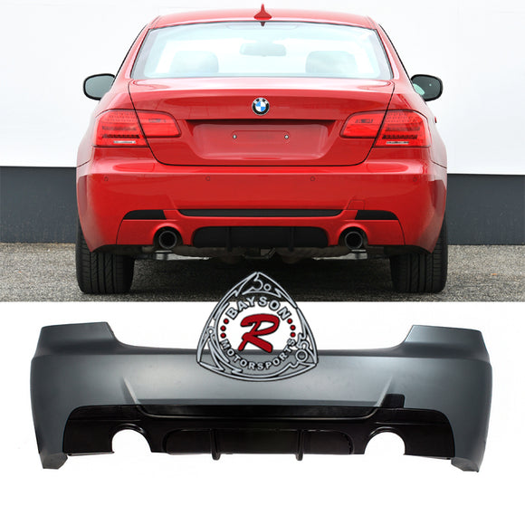 MP Style Rear Bumper For 2007-2013 BMW 3 Series E92 / E93 [Dual Exhaust, Single Tip] - Bayson R Motorsports