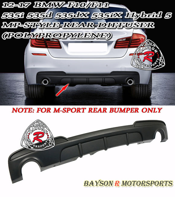 MP-Style Rear Diffuser For 2011-2016 BMW 5-Series F10 F11 (Dual Outlets Single Tip) - Bayson R Motorsports