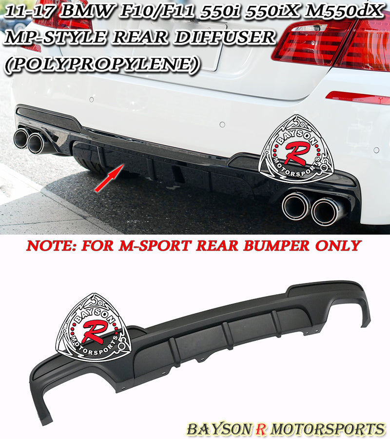 12-17 BMW 5-Series F10/F11 MP-Style Rear Diffuser (Polypropylene)