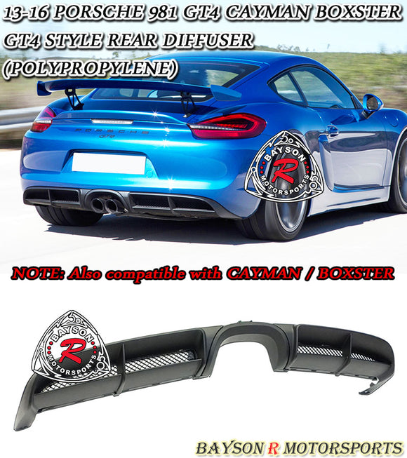 GT4 Style Rear Diffuser For 2013-2016 Porsche Cayman Boxster (981) - Bayson R Motorsports