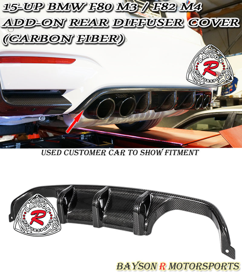 15-18 BMW F80 M3 / F82 F83 M4 Add-On Rear Diffuser Cover (Carbon Fiber)