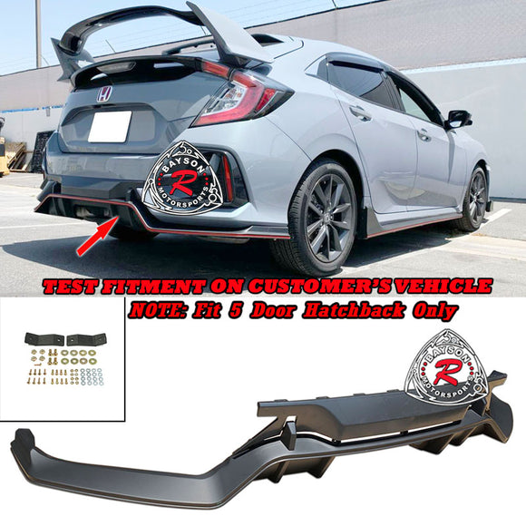 TR Style Rear Lip Diffuser For 2017-2020 Honda Civic 5Dr - Bayson R Motorsports
