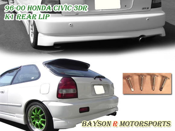 96-00 Honda Civic 3Dr Hatch K-1 Style Rear Lip (ABS Plastic) - Bayson R Motorsports