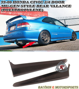 MU Style Rear Aprons For 1999-2000 Honda Civic 2Dr / 4Dr - Bayson R Motorsports