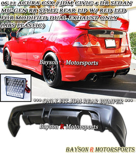 MURR Style Rear Lip (Dual Exhaust) w/ LED Brake Lights For 2006-2011 Honda Civic 4Dr (JDM Spec) - Bayson R Motorsports