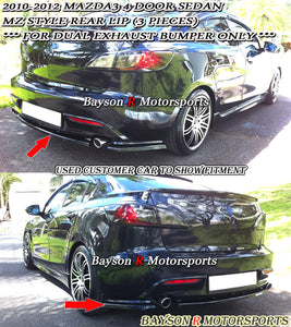 10-12 Mazda 3 4dr MS Rear Bumper Lip (Dual Exhaust)