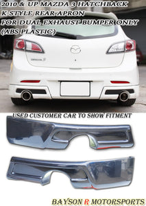 10-12 Mazda 3 5dr K Style Rear Bumper Aprons (Dual Exhaust)